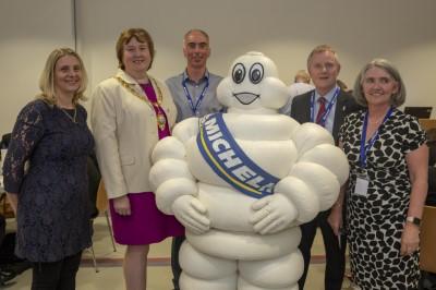 Left to right: Deborah Fitzsimmons (Ballymena Business Centre), Mayor, Cllr. Maureen Morrow (Mayor of Mid and East Antrim Borough), Noel Mulholland (Michelin Development Ballymena), Mike Cole (Head of Public Affairs), Jane Hanna (Young Enterprise NI)